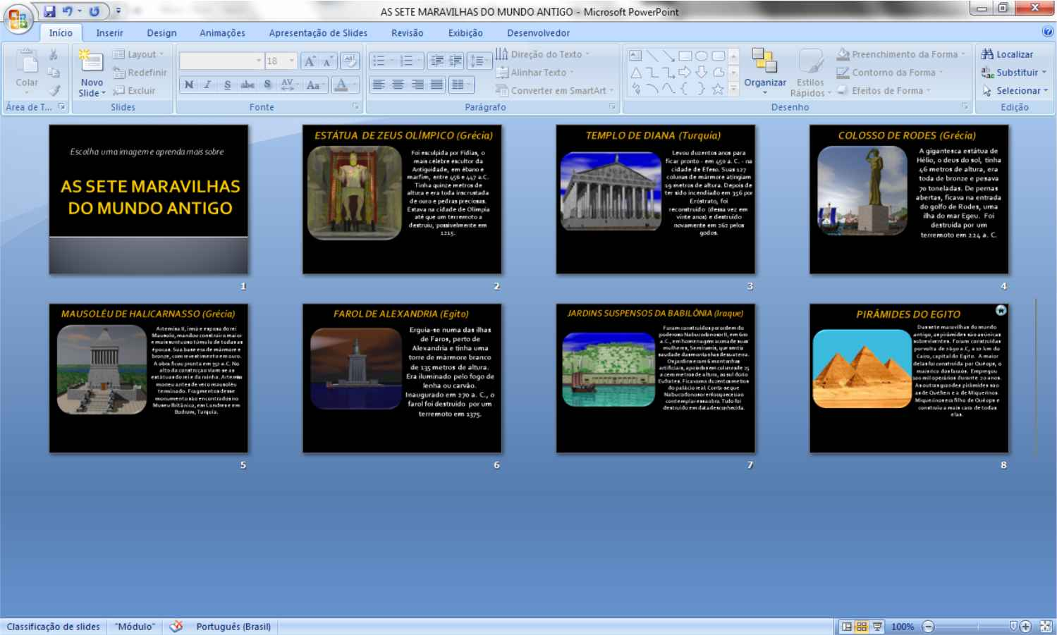 cf64c86b7a9db ... escolha um slide e insira todas as imagens que desejar para utilizar  como botão. No exemplo abaixo copiamos todas as imagens usadas na  apresentação ...