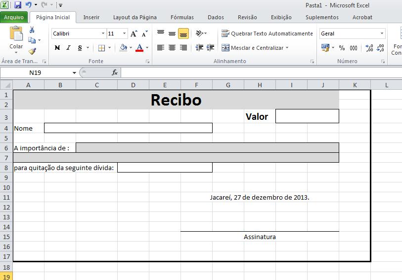 Saiba como criar um recibo no excel blog de inform tica for Recibo nomina excel gratis