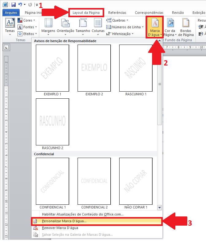 Clique em Marca d água de imagem e clique no botão inserir imagem e escolha  a imagem desejada. a3a5099a8d