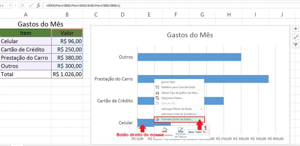 Clique com o botão direito, escolha a opção Formatar Ponto de Dados...