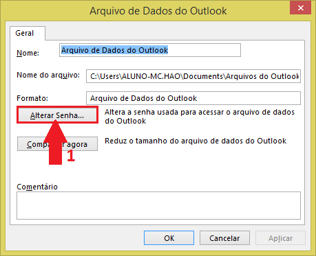 Como colocar senha no Outlook 2013  cd0b2251612