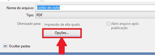 nome do arquivo e botão opções