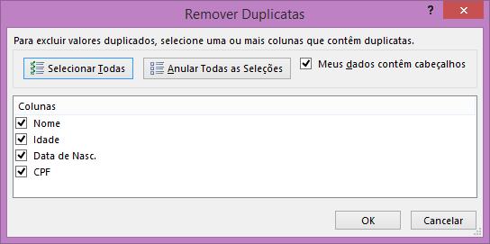 escolher dados para remover