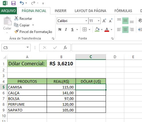 Como Converter Real Em Dólar No Excel