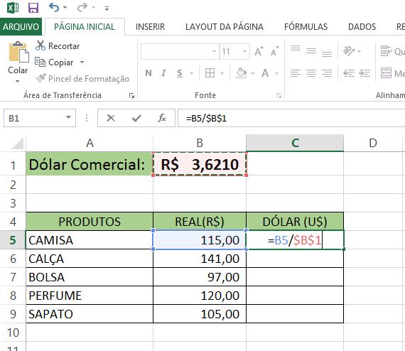 formula de conversão real para dolar