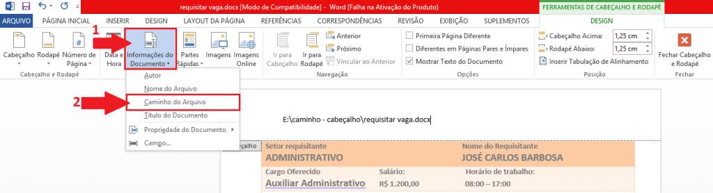 botão Informações do Documento e escolha Caminho do Arquivo