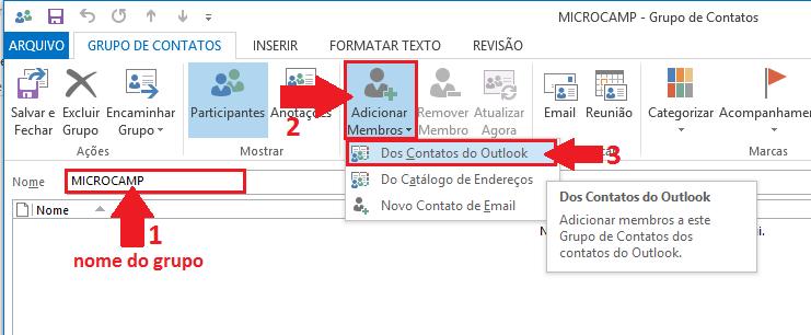 nome para o seu grupo, clique no botão Adicionar Membros e escolha Dos Contatos do Outlook.