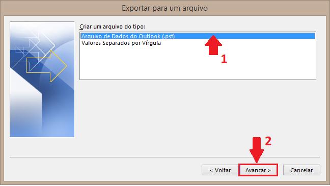 selecione Arquivo de Dados do Outlook (.pst) e clique em Avançar.