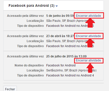 desconectar facebook para android