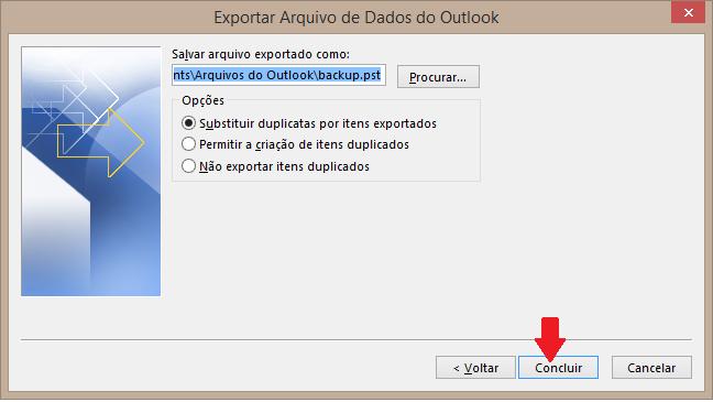 Agora vamos definir em qual pasta vamos gerar o arquivo de backup. Clique no botão procurara e escolha a pasta área de trabalho (desktop)