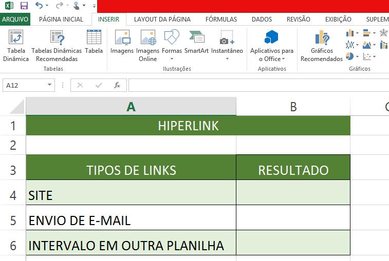 tabela planilha para hiperlink