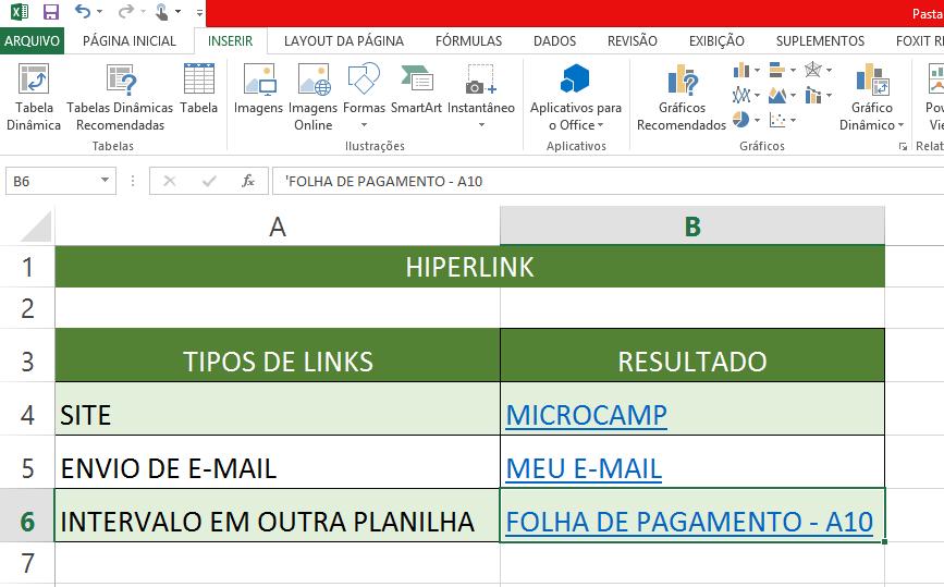 tabela com links